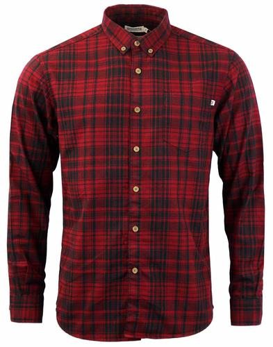 FARAH PAINE COTTON CHECK RETRO MOD SHIRT DEEP RED