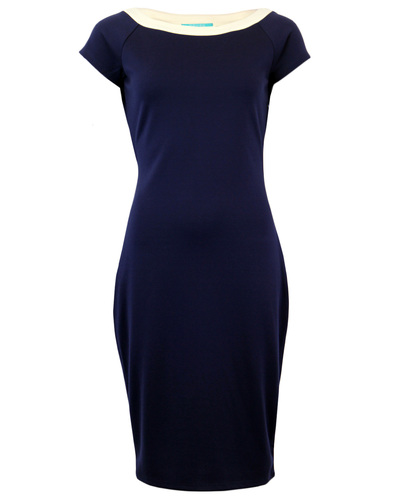 FEVER RETRO SIXTIES CONTRAST NECKLINE PENCIL DRESS
