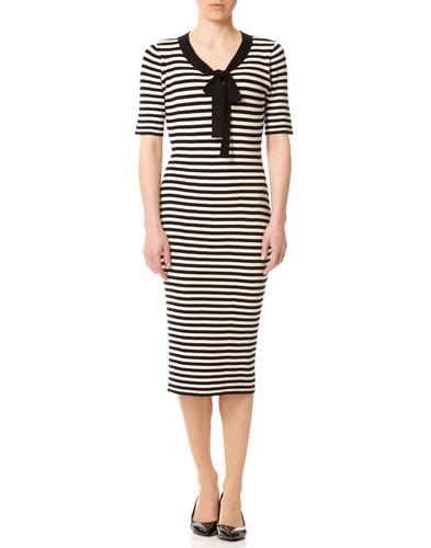 FEVER LACANAU RETRO 1960S MOD STRIPE BOW DRESS