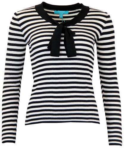 FEVER LACANAU RETRO 60S STRIPE KNIT BOW TOP