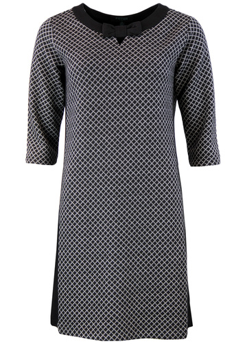 FEVER LORI RETRO SIXTIES MOD OP ART BOW DRESS