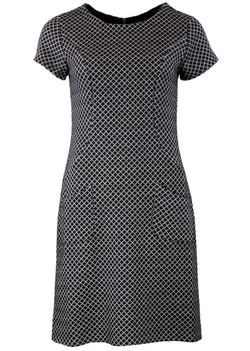 FEVER LORI RETRO SIXTIES MOD SQUARE OP ART DRESS