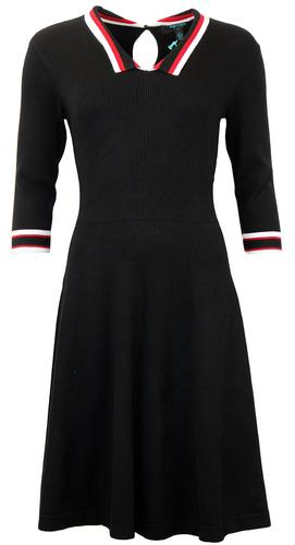 FEVER MCQUEEN RETRO 60S STRIPE RIBBED DRESS