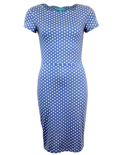 FEVER MILLIE SCALLOP NECK POLKA DOT PENCIL DRESS