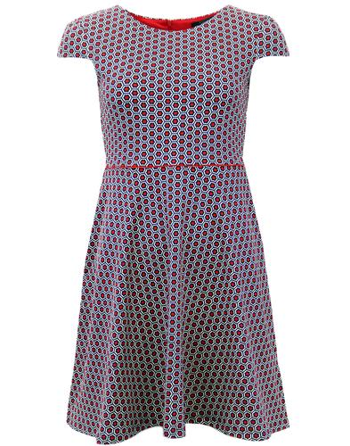 FEVER PATTI RETRO SIXTIES GEOMETRIC FLARED DRESS