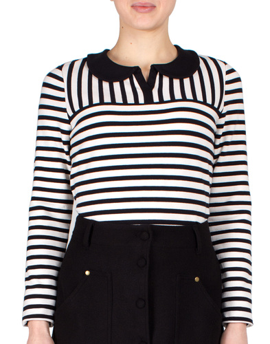 FEVER RETRO SIXTIES MOD STRIPE COLLAR TOP