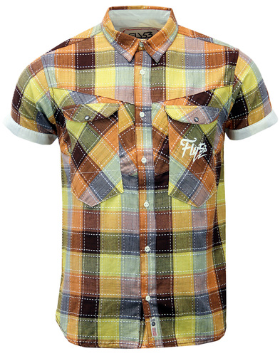 FLY53 ANGILE RETRO 60S MOD STITCH CHECK SHIRT