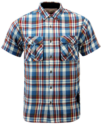 FLY53 STRIP RETRO INDIE MOD TEXTURED CHECK SHIRT