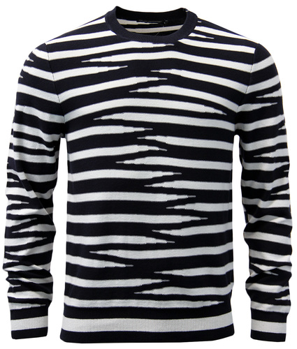 FRENCH CONNECTION RETRO TIGER STRIPE KNIT JUMPER