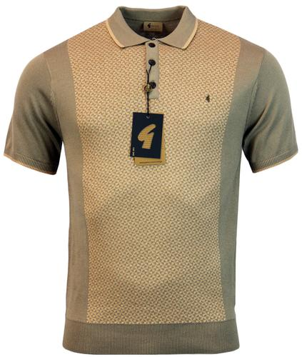 GABICCI VINTAGE RETRO 60S GEO TRIANGLE KNIT POLO