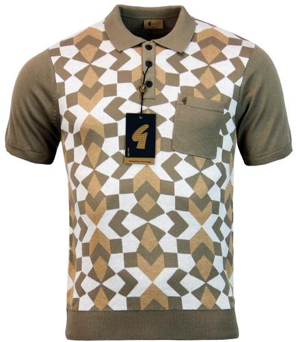 GABICCI VINTAGE RETRO MOD ABSTRACT GEO KNIT POLO