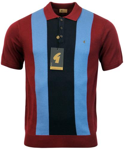 GABICCI VINTAGE RETRO STRIPE PANEL KNIT POLO