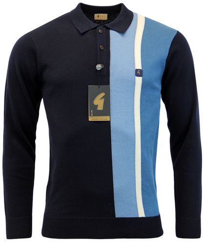 GABICCI VINTAGE MOD RACING STRIPE KNITTED POLO