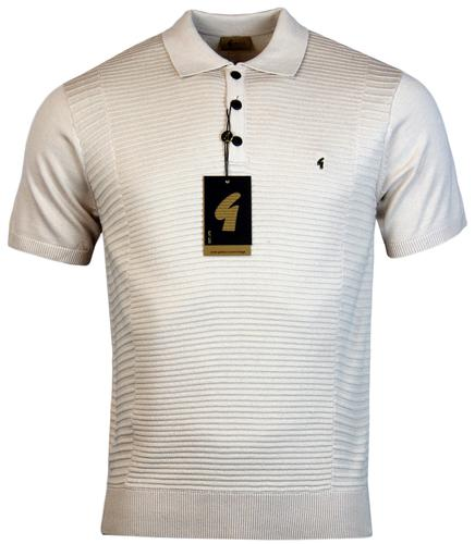 GABICCI VINTAGE RETRO MOD TONAL RIBBED KNIT POLO