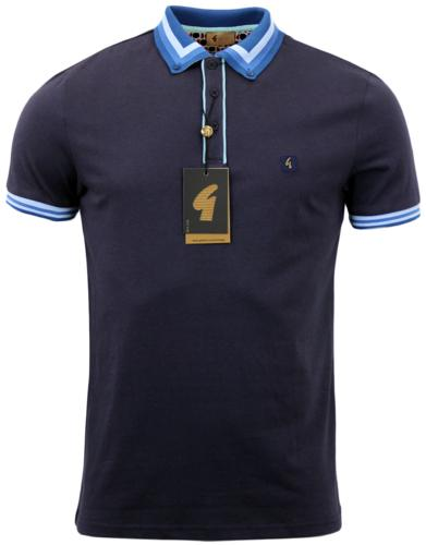 GABICCI VINTAGE RETRO MOD STRIPE COLLAR POLO