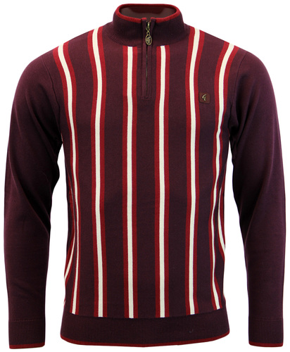 GABICCI VINTAGE 60S QUARTER ZIP STRIPE KNIT POLO