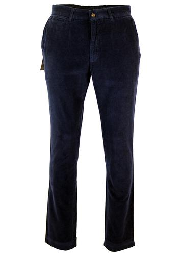 GIBSON LONDON RETRO MOD CORD TROUSERS NAVY