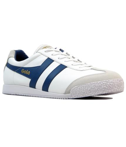 GOLA HARRIER RETRO INDIE LEATHER TRAINERS W/BLUE