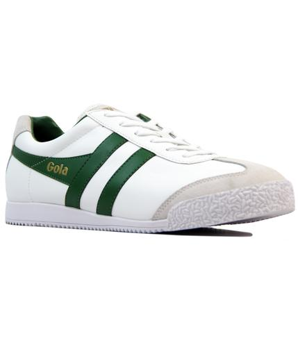 GOLA HARRIER RETRO INDIE LEATHER TRAINERS W/GREEN