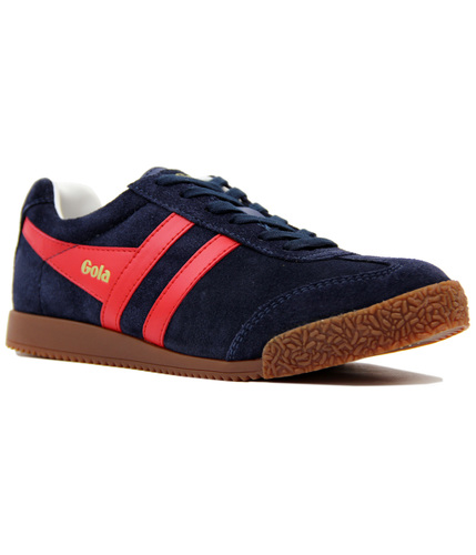 GOLA Harrier Womens Retro Suede Trainers NAVY/RED
