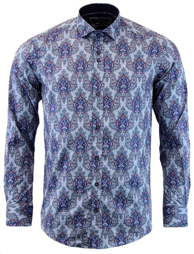 GUIDE LONDON RETRO 1960S FLORAL PAISLEY SHIRT