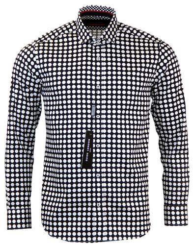 GUIDE LONDON RETRO UNIFORM POLKA DOT SHIRT BLACK