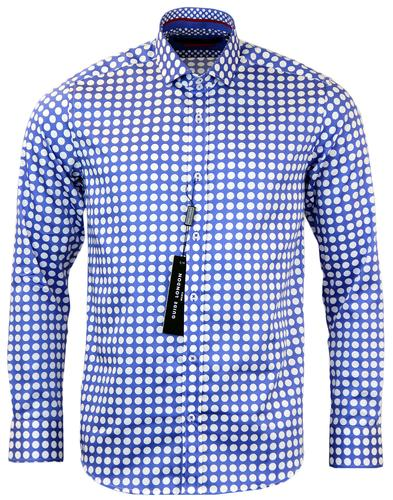 GUIDE LONDON RETRO UNIFORM POLKA DOT SHIRT BLUE