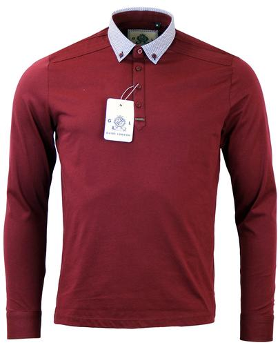 GUIDE LONDON OP ART COLLAR RETRO POLO BURGUNDY