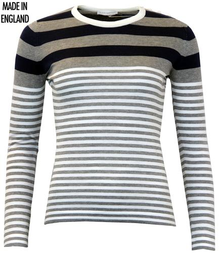 JOHN SMEDLEY AMARA RETRO STRIPED SWEATER