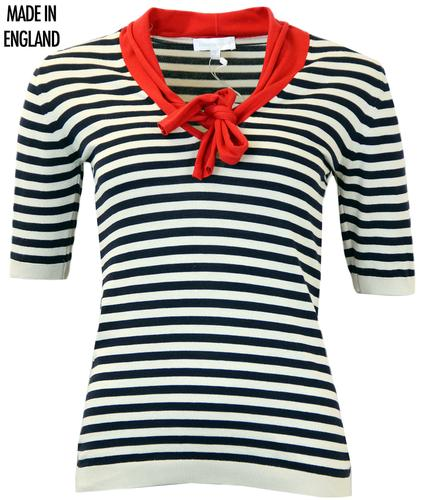 JOHN SMEDLEY APRIL RETRO STRIPE BOW SWEATER