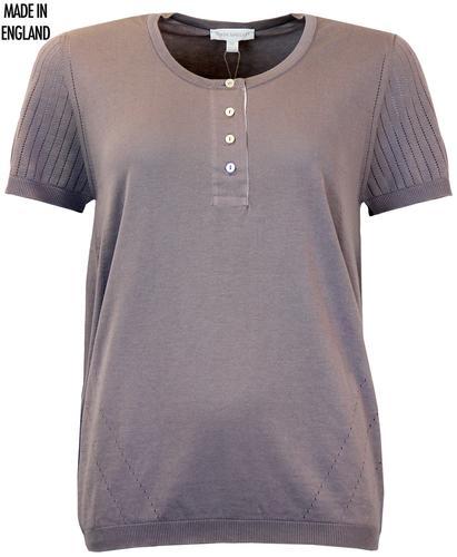 Giedi JOHN SMEDLEY Retro 60s Fine Knit Blouson Top