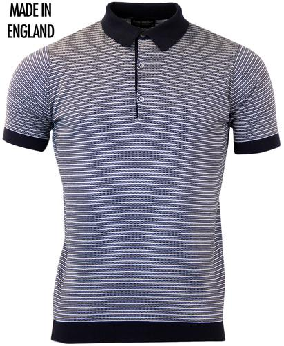 JOHN SMEDLEY GRIST RETRO GEO STRIPE KNITTED POLO