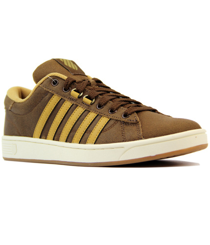 K-SWISS- HOKE C CMF CRACKED LEATHER TRAINERS