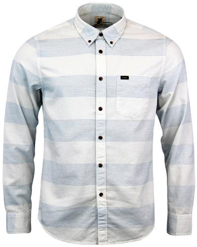 LEE RETRO MOD BUTTON DOWN MENS SHIRT WHITE