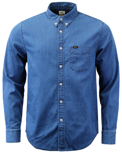 LEE RETRO INDIE MOD 70S DENIM BUTTON DOWN SHIRT