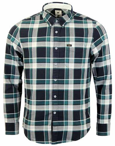 LEE BUTTON DOWN GINGHAM RETRO MOD SHIRT