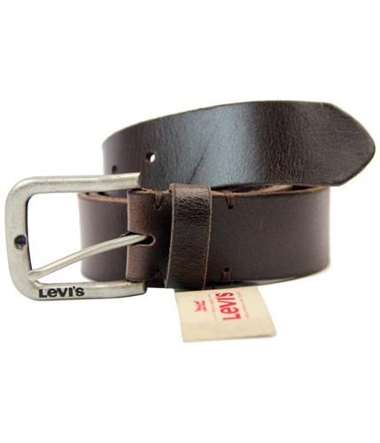 LEVIS RETRO FULL GRAIN LEATHER LOGO BUCKLE BELT