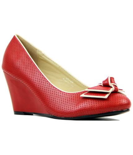 LULU HUN ELISA RETRO VINTAGE 1960S MID WEDGE RED
