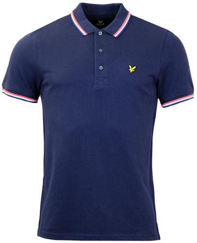LYLE AND SCOTT RETRO MOD TIPPED PIQUE POLO NAVY