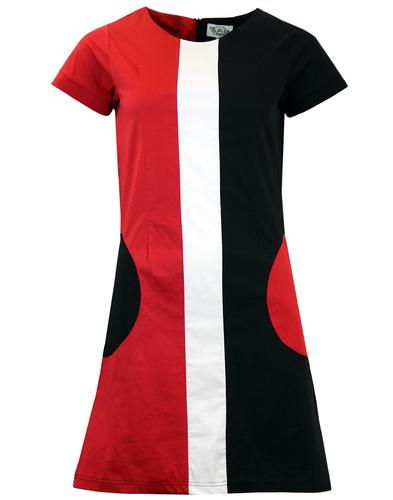 MADCAP ENGLAND RETRO 60S MOD MINI DRESS BLACK RED
