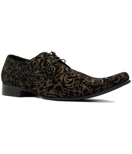 MADCAP JAG PAISLEY SUEDE WINKLEPICKER SHOES BLACK