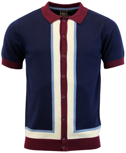 MERC RAINHAM RETRO MOD STRIPE PANEL KNIT POLO