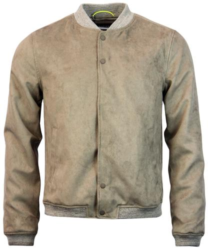 NATIVE YOUTH Retro Mod Faux Suede Bomber Jacket