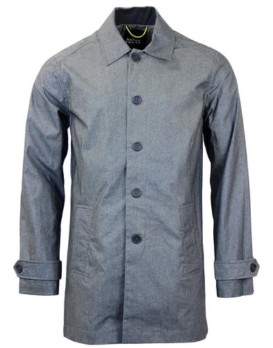 NATIVE YOUTH Retro Mod Coated Chambray Mac Jacket