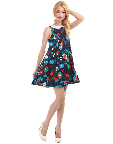 BRIGHT & BEAUTIFUL NIA 60S FLORAL BABY DOLL DRESS