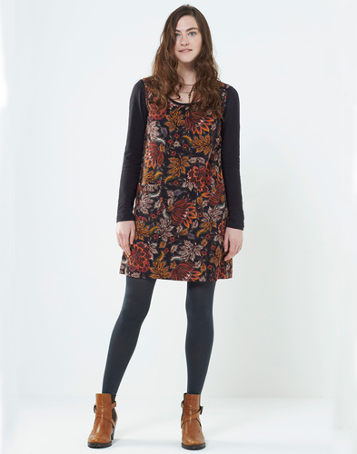 NOMADS AURORA RETRO 60S FLORAL CORD PINAFORE DRESS