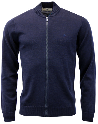 ORIGINAL PENGUIN MENS KNITTED WOOL BOMBER CARDIGAN