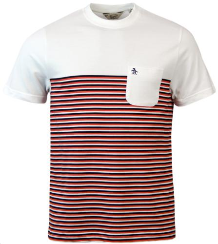 ORIGINAL PENGUIN RYDA RETRO STRIPE PANEL T-SHIRT