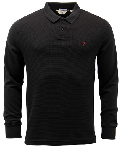 ORIGINAL PENGUIN WINSTON LONG SLEEVE WAFFLE POLO