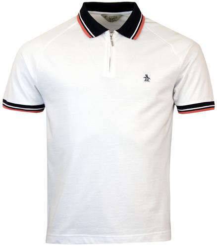 ORIGINAL PENGUIN LYNKS RETRO MOD TIPPED ZIP POLO